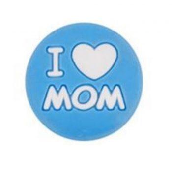 I LOVE MOM gyöngy-égkék