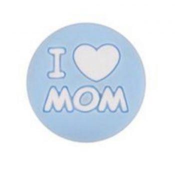 I LOVE MOM gyöngy 20mm-pasztellkék