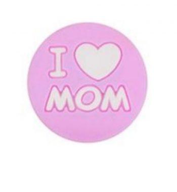 I LOVE MOM gyöngy 20mm-rózsaszín