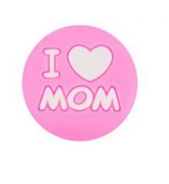 I LOVE MOM gyöngy 20mm-pink