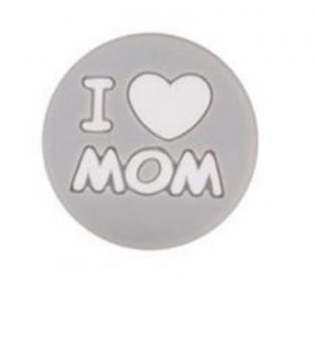 I LOVE MOM gyöngy 20mm-szürke