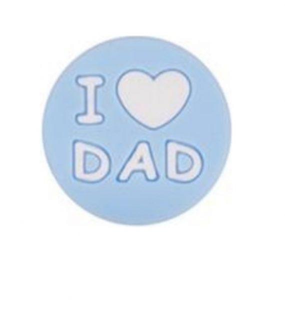 I LOVE DAD gyöngy 20mm-pasztellkék