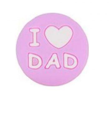 I LOVE DAD gyöngy 20mm-rózsaszín