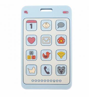 Szilikon rágóka-Mobiltelefon-pasztellkék