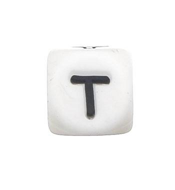 Szilikon betű gyöngy-12mm-T