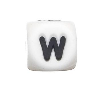 Szilikon betű gyöngy-12mm-W